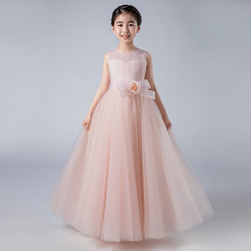 High Quality Children Girls Elegant Pure Pink Birthday Wedding Party Princess Long Dress Kids Teens Piano Host Costume Dress elegant children girls lace princess birthday wedding party pink dresses kids babies clothing costume piano host tutu mesh dress