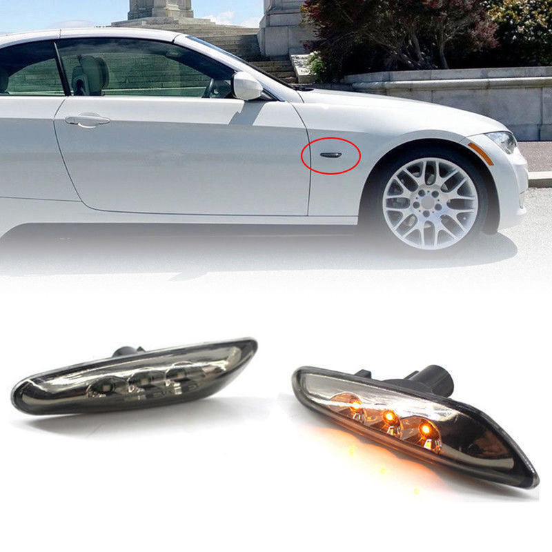 For BMW E90 E92 Pair Set of 2 Front Additional Side Lights w// White Lens Genuine