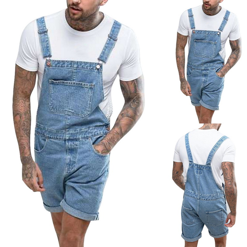 New Summer One Piece   Jeans   Men Casual Knee Length Denim   Jeans   Men Vintage Distressed Bib Overalls   Jean   Homme Breathable Pants
