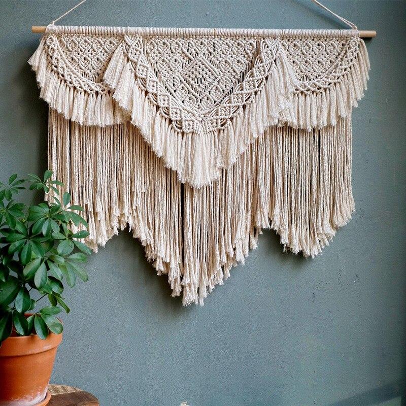 Coton tissé à la main tapisserie boho décoration pour salon chambre 95 cm x 105 cm