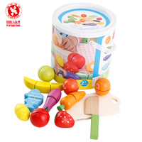 Children early childhood pretend play magic stickers wooden fruit and vegetables cut to see the barrel baby intellectual toy