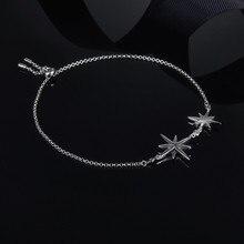 FXLRY New Design Personality Fashion Women Silver color Inlay Zircon The Stars Hand Catenary Temperament Jewelry