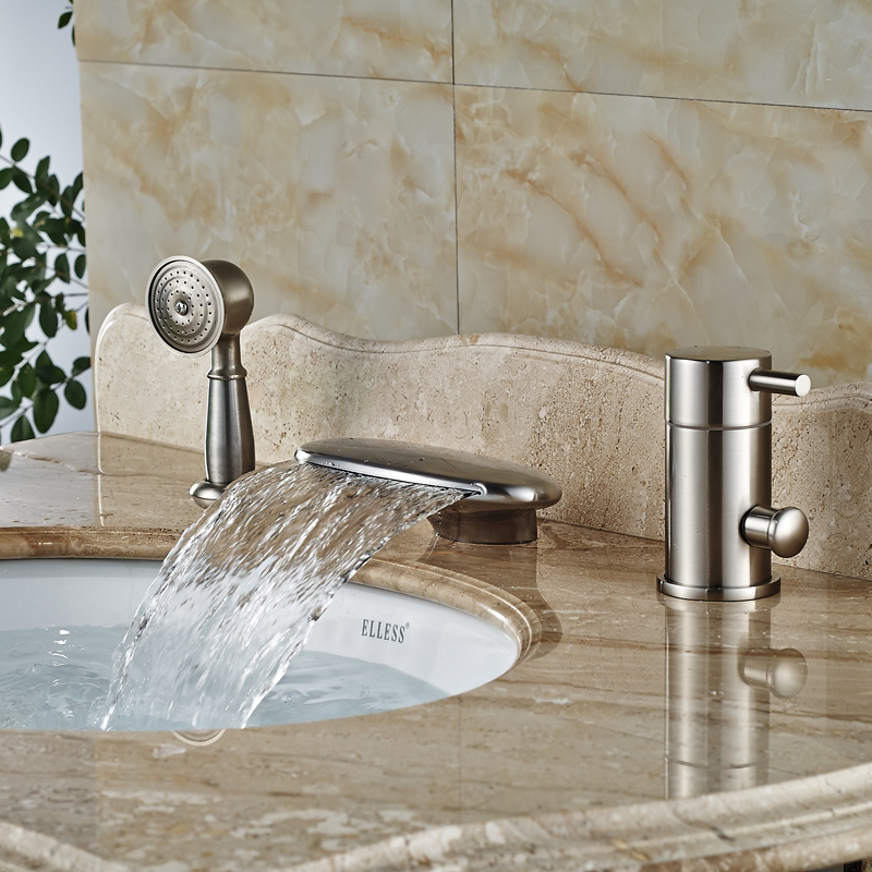 Deck Mount Widespread Curved Waterfall Spout Bathtub Faucet Set Single Handle with Hand Shower Tub Filler