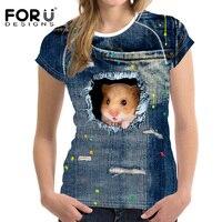 FORUDESIGNS 3D Jeans T Shirt Women Tshirt Brand Clothes Harajuku Cat Fashion Tops Tees Blusa Female