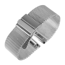 Black/Silver/Rose Golden 18mm/20mm/22mm Watch Band Mesh Stainless Steel Strap Fold Over Clasp Watches Replacement Bracelet