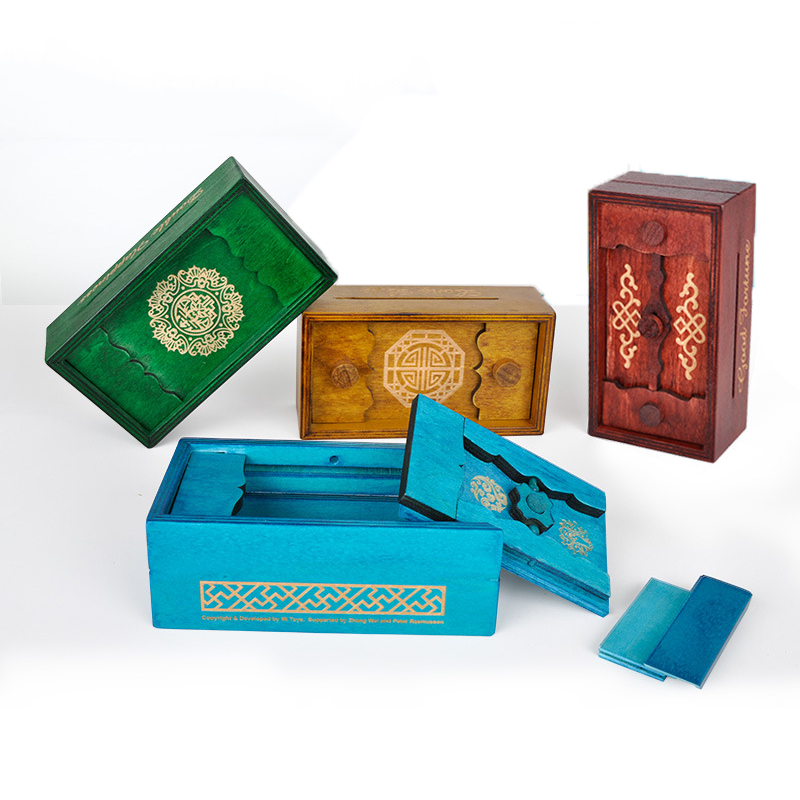 цена на UTOYSLAND Secret Box Wooden Puzzle Box Secret Trick Intelligence Compartment Magic Money Box Brain Teaser Logic Educational Toy
