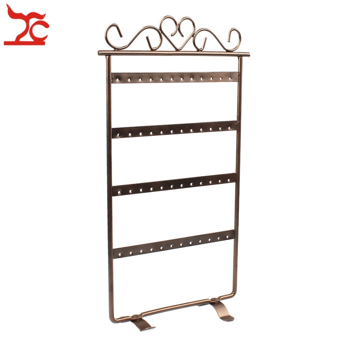 Fine Metal 48 Holes 24Pair Earrings Display Stand Wall Frame Holder Iron Painted 4 Layer Jewelry Showcase 4 Colour Available in Jewelry Packaging Display from Jewelry Accessories