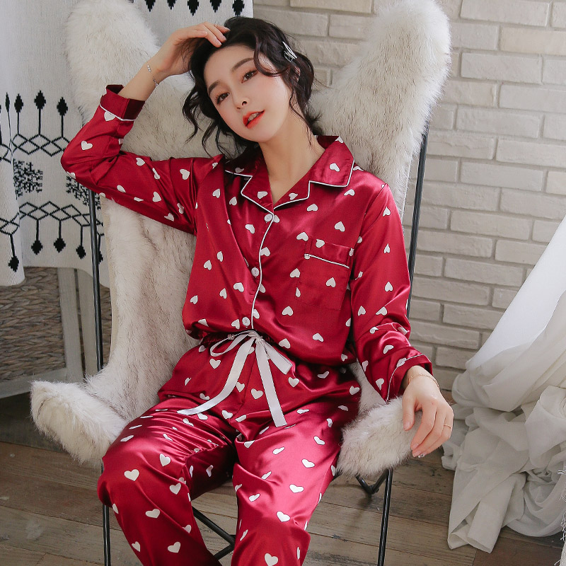 New Arrivals Women Pyjamas Silk Satin   Pajama     Sets   Korean Hearts Fashion Pijamas Nighty Sleepwear Comfy Spring Summer Clothes