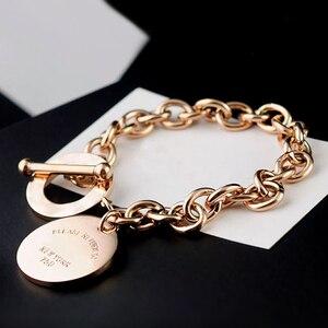 Diseño de marca clásica, tarjeta redonda, botón OT, brazalete de acero inoxidable superior, oro, plata, pulseras de Color para mujeres, hombres, joyería para enamorados