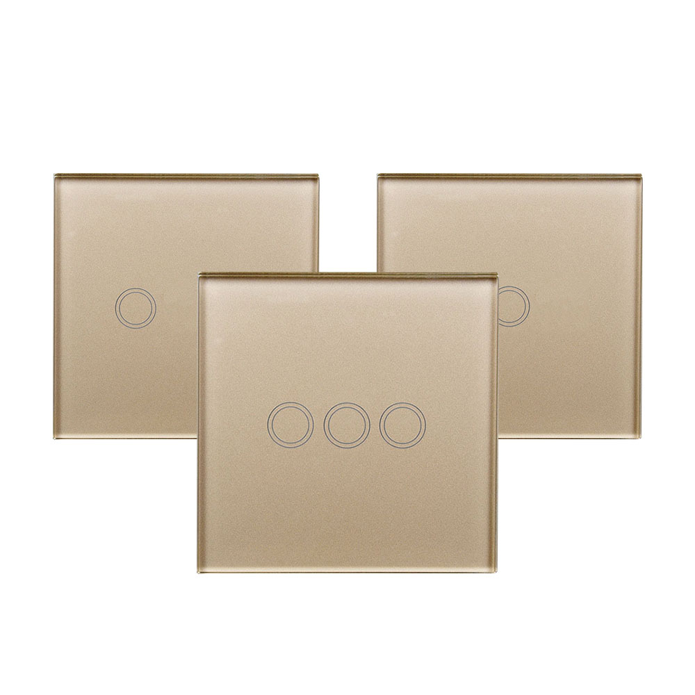 Smart Remote Control RF Switch Panel EU/UK Standard Wall Touch Screen Crystal Glass Panel RF 433MHz Signal Via Broadlink RM Pro+