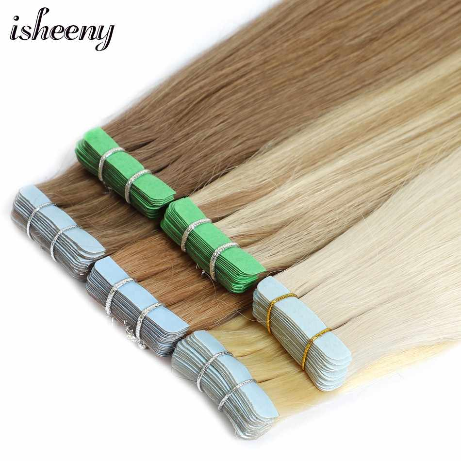 "Isheeny 12"" Remy Tape In Human Hair Extensions 20pcs Tape Extension Straight European Hair Bundle Skin Weft Short Hair"