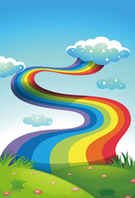 Laeacco Cartoon Rainbow Stair Clouds Grassland Baby Photography Backgrounds Customized Photographic Backdrops For Photo Studio