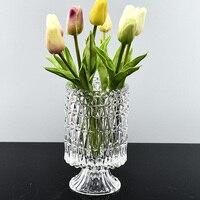 DLYLDQH Fashion Modern style Transparent Crystal Glass Vase Modern Home Decoration vogue Desktop Vase Wedding Gift Decoration
