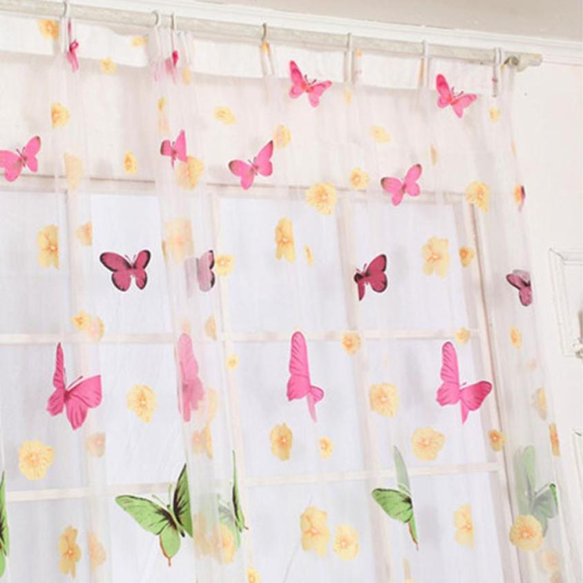 2018 Butterfly Print Sheer Window Panel Curtains Room Divider New For Living Room Bedroom Girl 200X100CM 3QW0528