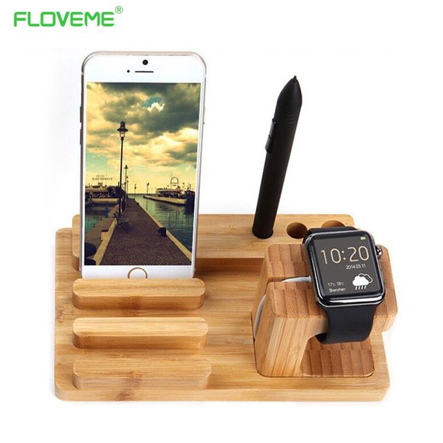 For iPhone6 6s Plus Charging Dock 100% Natural Bamboo Stand  For iPhone SE 5 5S Multifunction Holder For Apple Watch For Pad