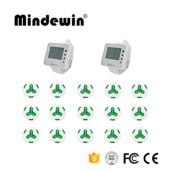 Mindewin Customer call system Waterproof Calling Button 15pc White/Green +2 pcs Wrist Watch Wireless Call System For Res