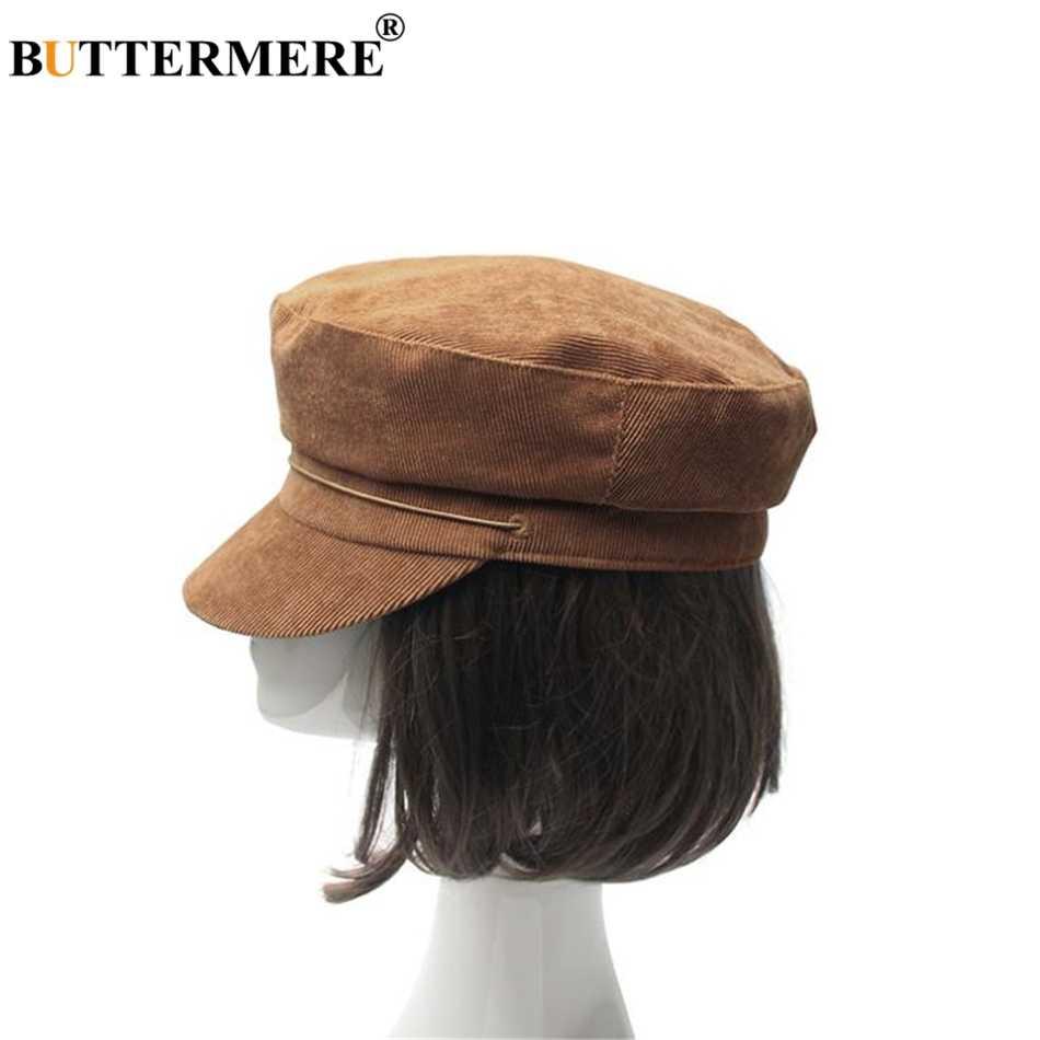 992a543c BUTTERMERE Women Corduroy Newsboy Cap Vintage Flat Cap Female Japanese Military  Cap Baker Boy Hat Camel