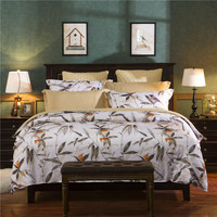 Retro Style Ink Bamboo Pattern Bedding Set 4PCS Duvet Cover Bed Sheet Pillowcase Bedspread King Queen