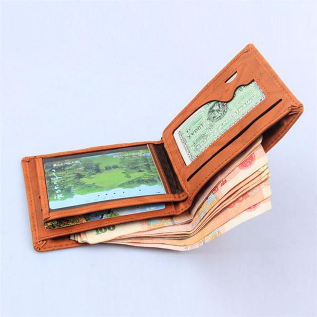 Men Leather Card Cash Receipt Holder Organizer Bifold Wallet Purse Good quality wallet mens brand designer mens wallet 72.93#