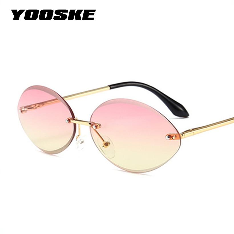 YOOSKE New Oval óculos de Sol para As Mulheres Óculos Sem Aro De Diamantes  Lente De Corte Óculos Lentes de Óculos de Sol Feminino Oceano Claro Roxo em  ... 8e31431d06