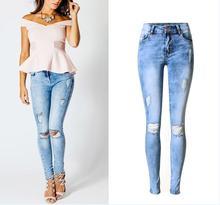 Плюс размер 44 Новый 2017 Горячая отверстие рваные джинсы женщин брюки Мода Дамы Эластичный Джинсовые Брюки Женские Узкие Джинсы женский