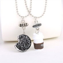 Free shipping Best Friends BFF pendant bead chain necklace fastfood coffee glitter biscuit kids jewelry lead