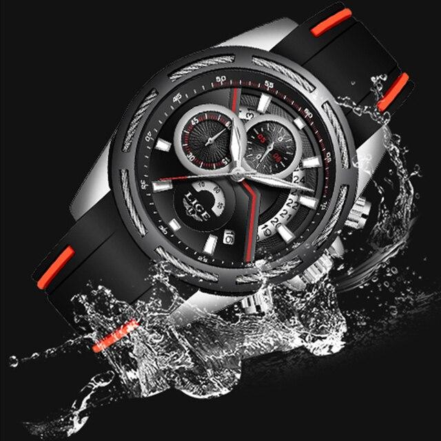 Фото часы наручные lige мужские спортивные роскошные водонепроницаемые