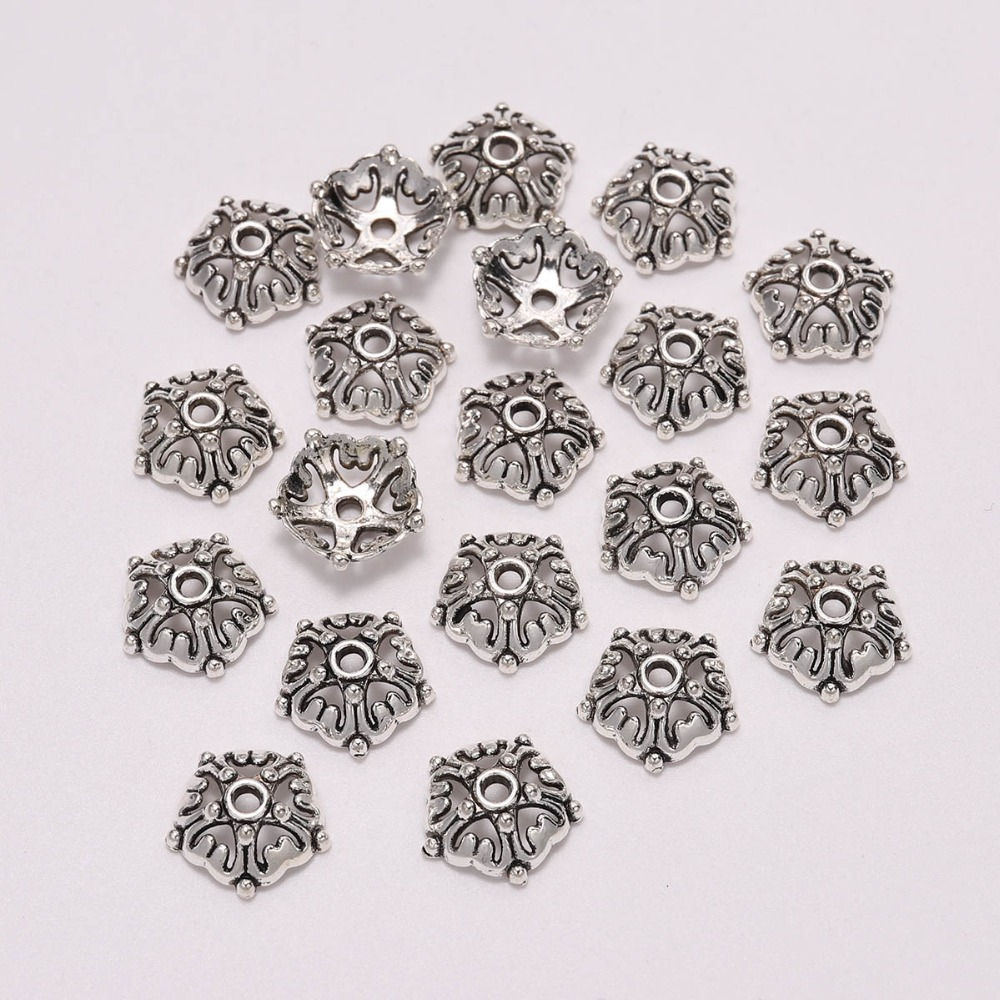 20pcs/Lot 12mm Antique  Five Pointed Star Flower Loose Sparer Torus End Bead Caps For DIY Jewelry Making Finding Earrings