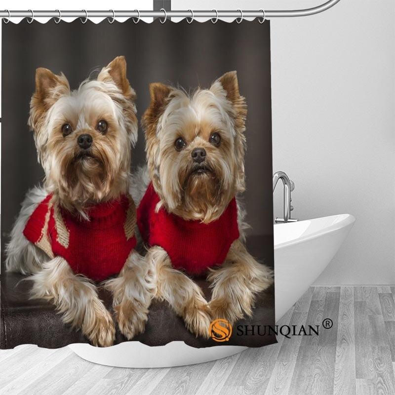 High Quality Custom yorkshire terrier Shower Curtains Polyester Bathroom Curtains With Hook Bath Curtain Bathroom Decor