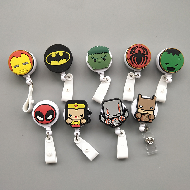 20 Pcs/Lot Super Cool Silica Gel Cartoon Heroes Nurse Retractable Badge Reel Holder Pull ID Card Badge Holder Belt Clip Hospital