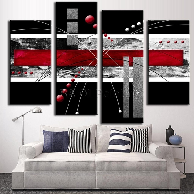 High Quality Color HandPaint Red Black Grey Abstract imagine Wall ...