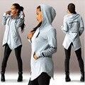 2016 Nova moda feminina vestido casual hoodies primavera outono 100% algodão sexy sudaderas mujer moletom com capuz cinza preto vermelho S-XL