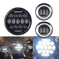 High/Low beam 75W Motorcycle 7'' led headlight + 4.5 inch 30W White angel eyes led passing fog lamp kit for harley