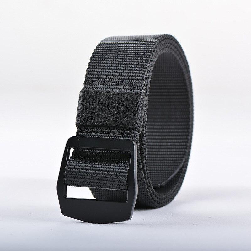 9915a172 VOHIO Black Large Size Elastic Woven Belt Black Buckle Anti Allergic  Lengthened Mens Belt Casual Canvas Nylon Belt Long 125cm