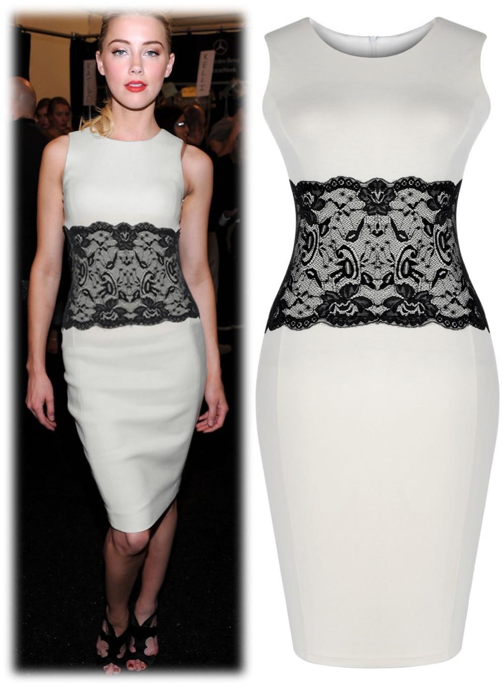 Ladies Party Wedding Evening Lace Waist Knee Bodycon Dresses Smart ...