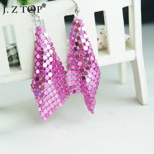JZTOP Exquisite fashion Sequin Fine Long Drop Earrings Sweet personality candy color Exaggerate Earring Jewelry for Women