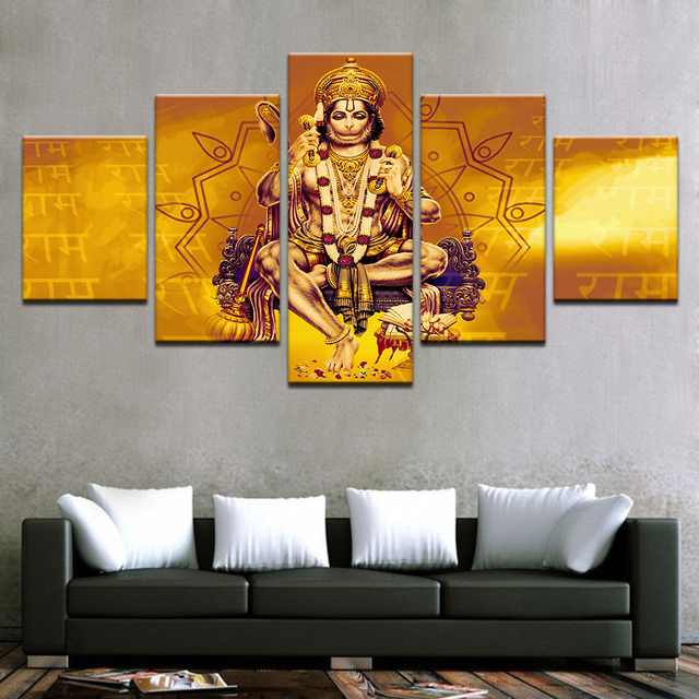 Canvas Wall Art Pictures Living Room HD Prints Poster 5 Pieces India Monkey Lord Hanuman Shri