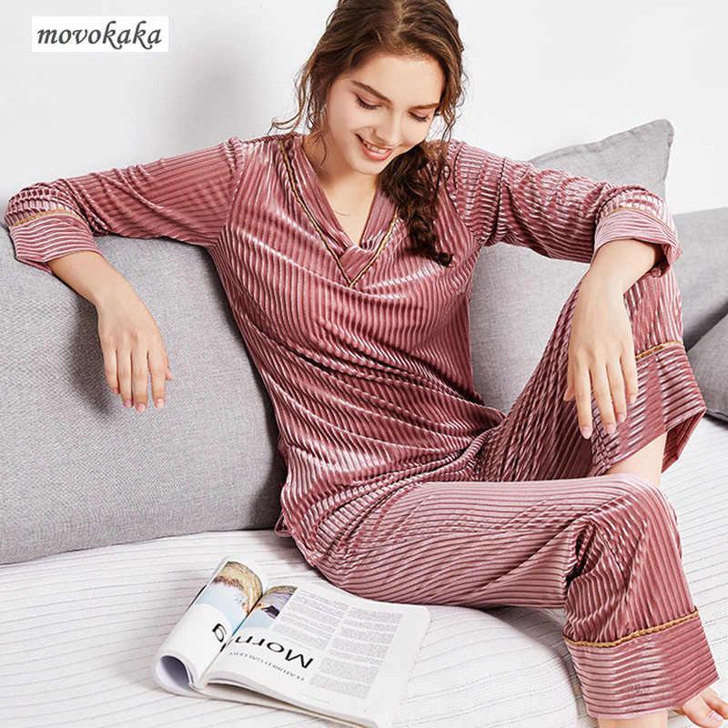 MOVOKAKA пижамный комплект золотые бархатные пижамы женские пижамы XL  тонкие с длинными рукавами пижамы Женская одежда 807cd296bd8b8