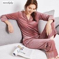 MOVOKAKA Pajama Set Gold Velvet Pajamas Women Sleepwear XL Thin Long sleeved Pajamas Womans Sleepwear Home Wear Pyjama Femme Set