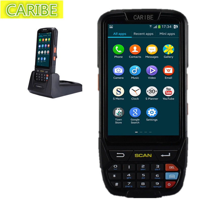 Caribe PL-40L rugged Android 5.1 handheld pda outdoor passive NFC rfid 13.56mhz long reader and 1d barcode scanner engine caribe pl 40l industrial handheld android pda wifi mobile 1d barcode scanner and hf rfid tags reader