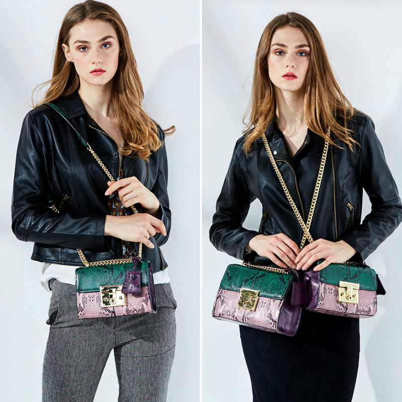 Women 39 s new Korean style leather lock chain bag Cross section stainless steel style snake grain bag Crossbody in Shoulder Bags from Luggage amp Bags