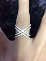 aeaff71c1a 100 Pure 925 Sterling Silver Women Finger Rings Fine Micro Pave Cz Bling Double  Criss Cross
