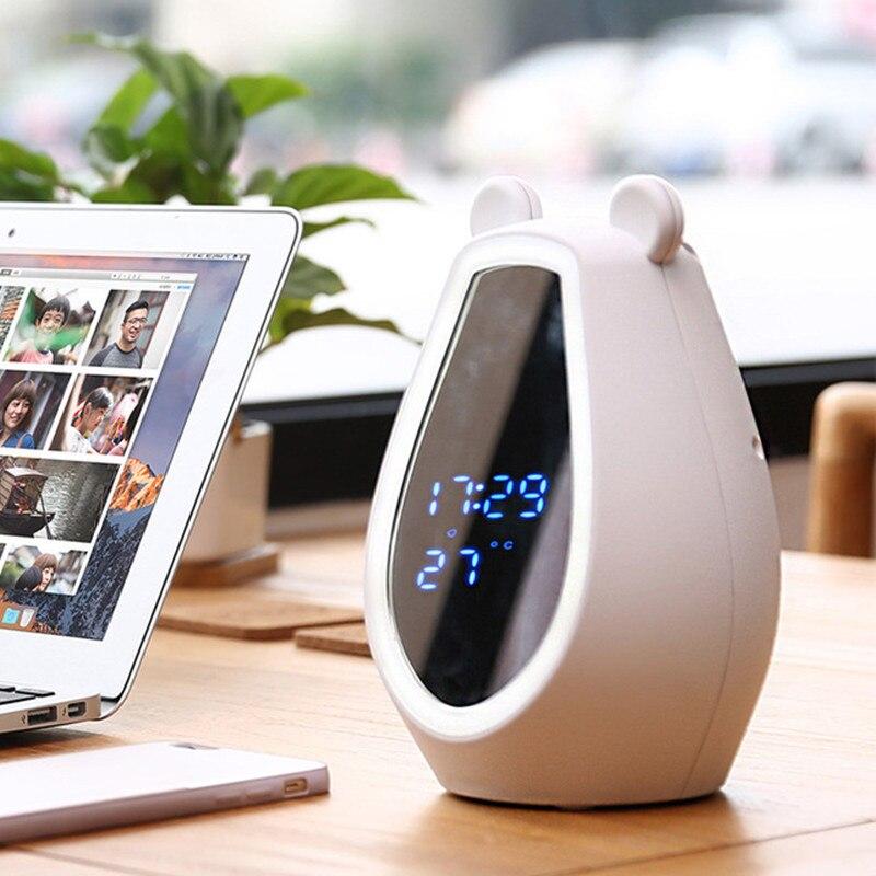 Cute bear makeup mirror alarm clock speaker relight mirror wireless bluetooth speaker portable relight smart clock