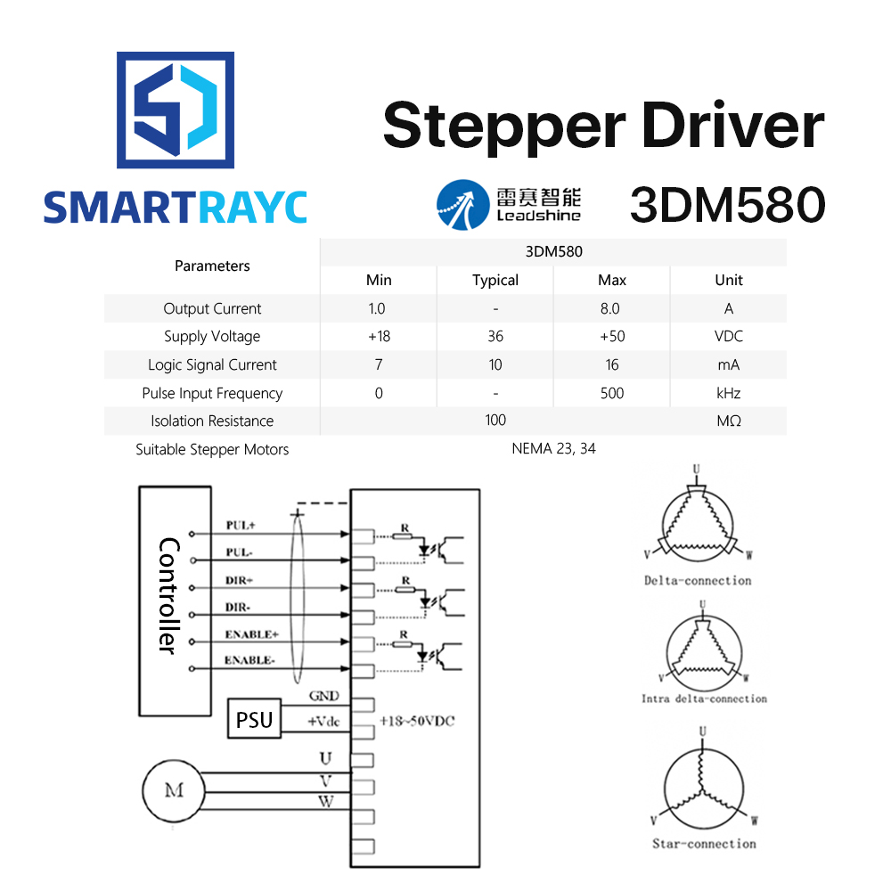 smartrayc leadshine 3 phase 3dm580 stepper motor driver 18 50vdc 1 0 rh aliexpress com