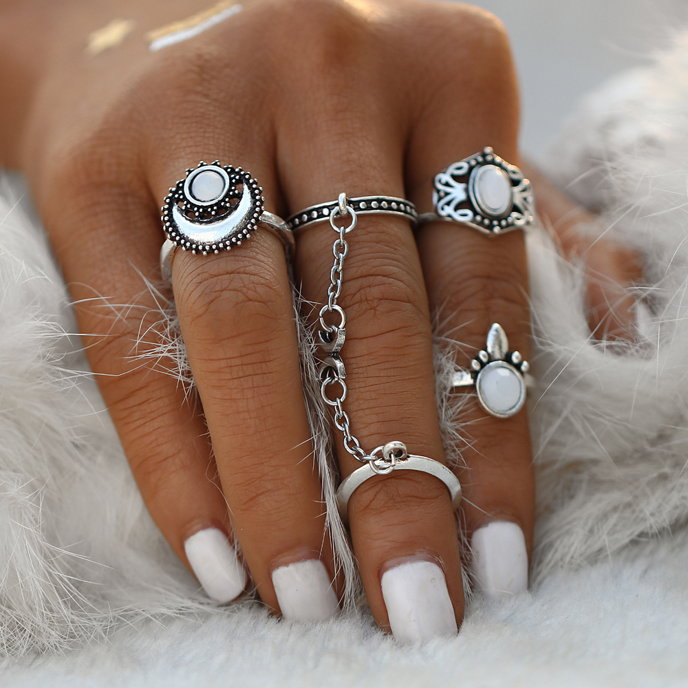 JIKA SAYA Etnis Turki Bulan Sun Finger Rings Set Natural Opal Batu Tautan Chains Midi Rings Perhiasan Untuk Wanita Antik Warna Silver