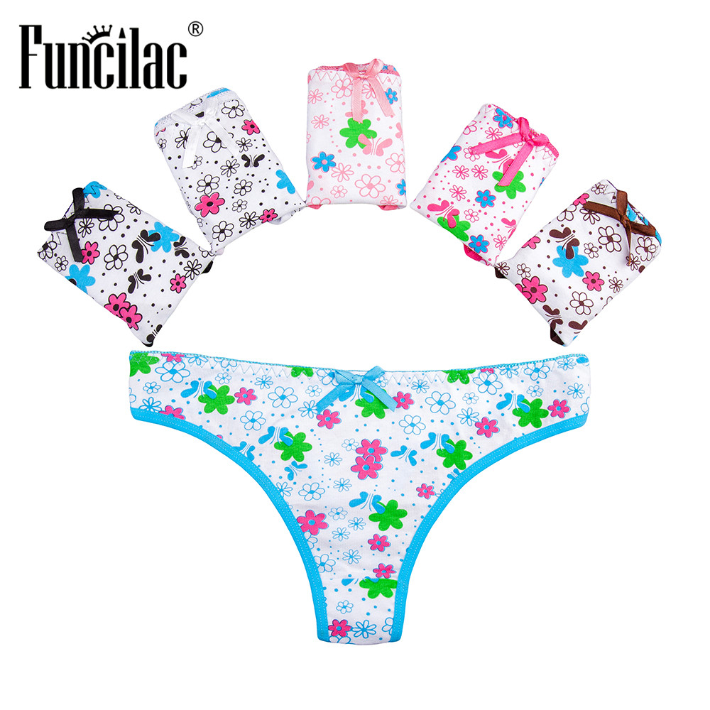 Buy FUNCILAC Womens Underwear Lingerie Thongs Strings Tanga Ladies Cotton Floral Low Rise Sexy Panties Femme Knickers 5pcs/Lot