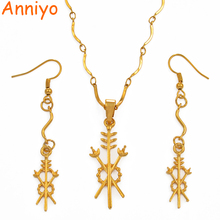 цена на Anniyo Gold Color Papua New Guinea Pendant Necklaces and Earrings for Women,PNG Ethnic Style Jewelry Gifts #092206