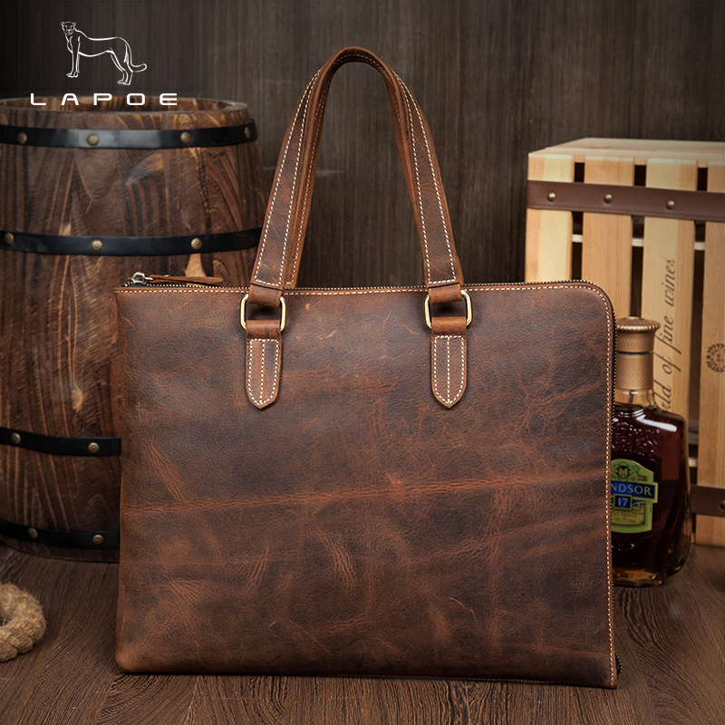 LAPOE Crazy Horse Genuine Leather Men Handbag Vintage High Quality Bag Business Men Bag 13inch Laptop Briefcase Messenger Bag все цены