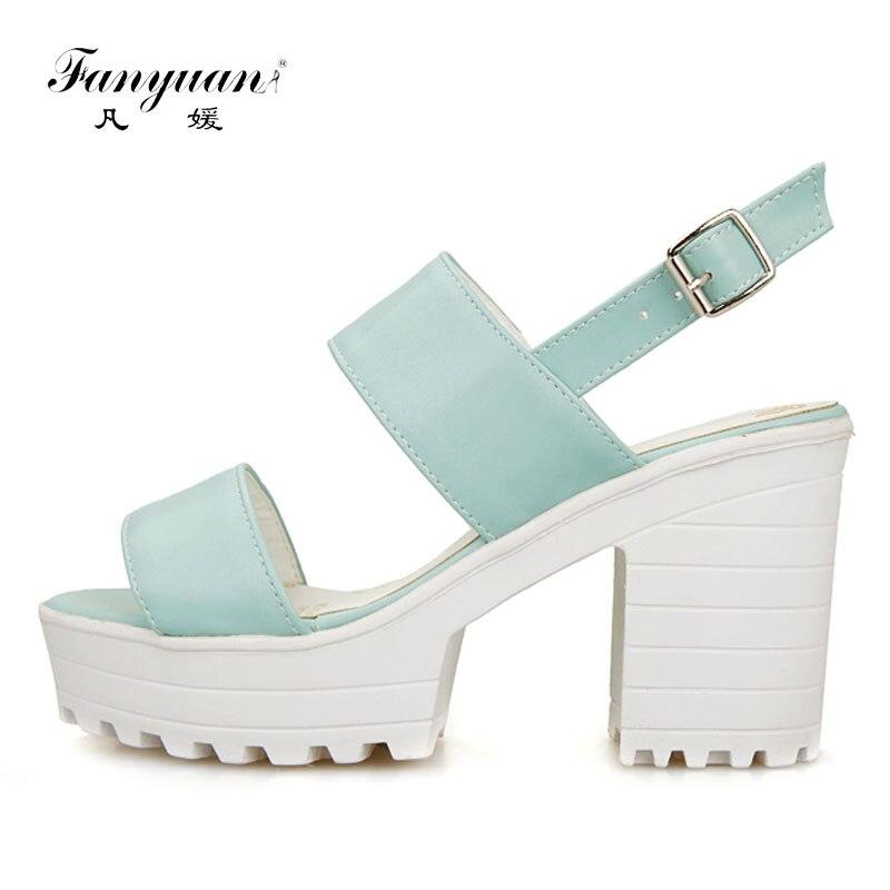 Fanyuan Sexy plate-forme à talons hauts femmes sandales bonbons épais talon femme d'été pompes décontracté solide sangle sandales dames chaussures d'été