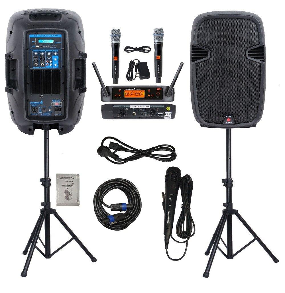 STARAUDIO paire Pro DJ Active 2000 W 12 pouces PA haut-parleurs PA DJ se tient 2CH UHF sans fil à main Microphone filaire micro câble SSD-12A